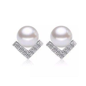 NEW Sterling Silver PEARL Shevron Earrings